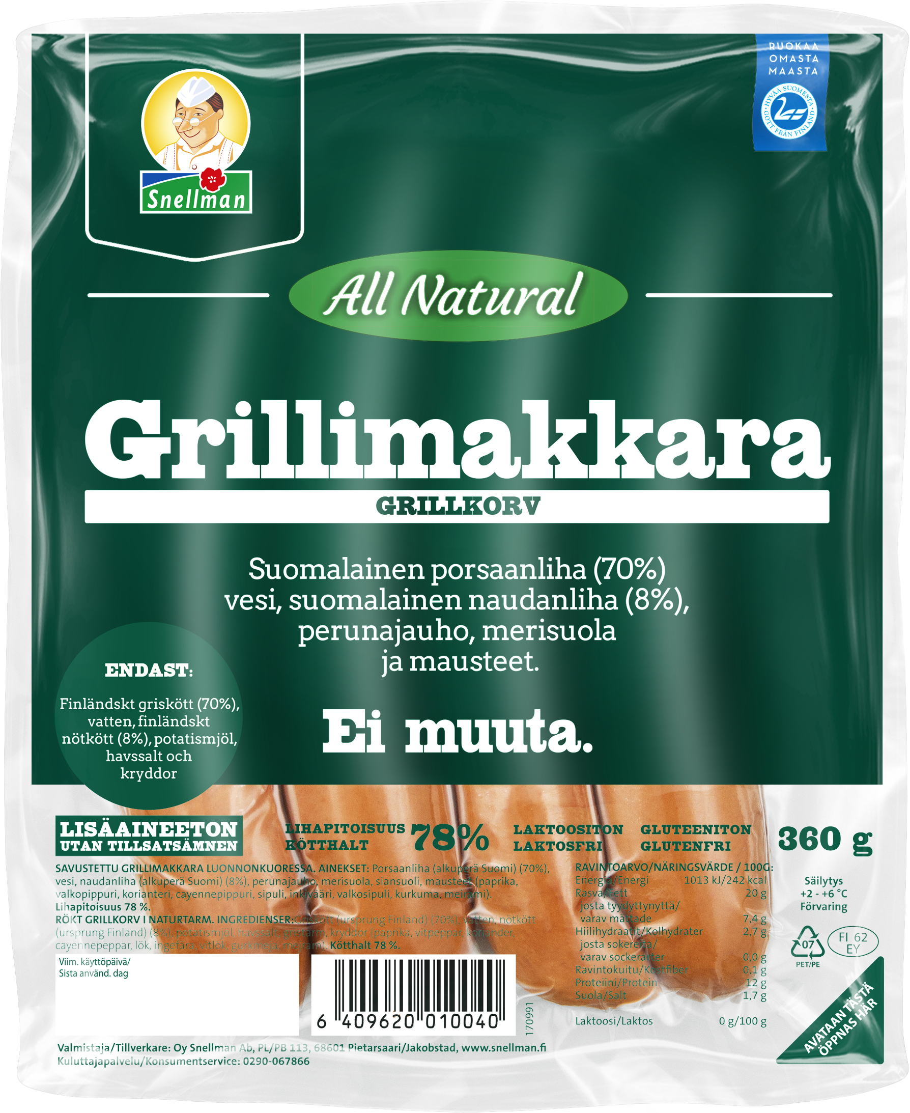 all natural grillimakkara 360 g 0