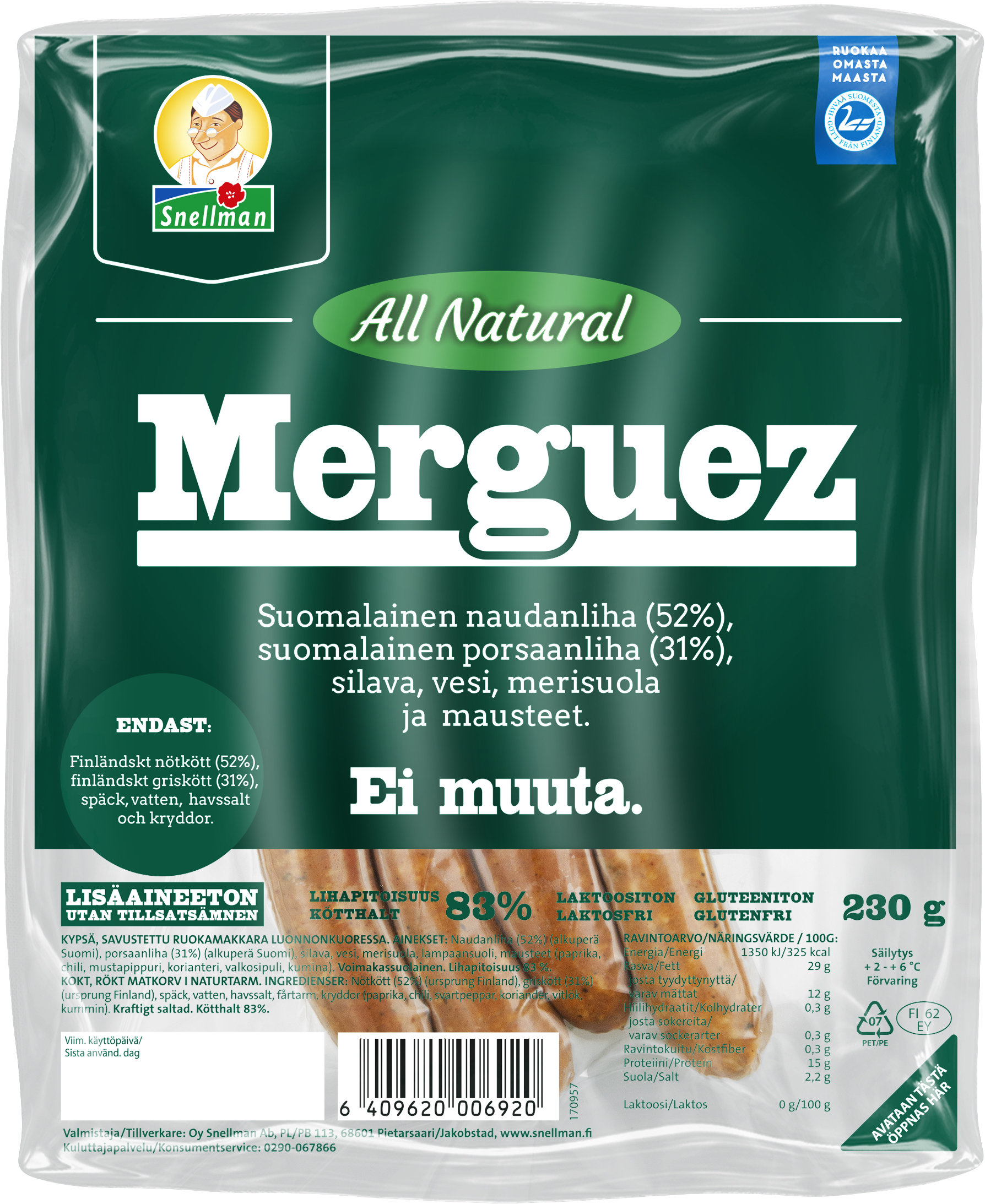 all natural merguez 230 g